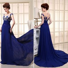 Elegant Chiffon Long Prom Party Gown Appliques See-Through Formal Evening Dress #Dress #Fashion #Deal