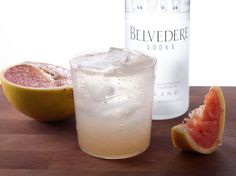 mix fresh grape fruit juice, club soda, vodka, and a squeeze of lemon for a refreshing end of the day cocktail.