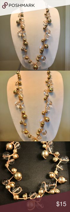 """Spring St Chunky Bauble Bead Necklace Fun lucite and gold beads knotted linen cord.  38"""" plus 3"""" extender chain Nordstrom Jewelry Necklaces"""