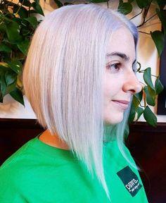 angled silver blonde bob