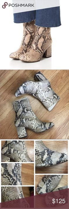 Free People Cecile Ankle Boot Classic Snake-embossed leather ankle boots featuring a rounded distressed toe and a block heel. Exposed back zip for an easy on/off.    ✨Best fit for a size 7. May fit a narrow 7.5 as well.   ❗️Please keep in mind that these boots are naturally distressed.❗️   ✨Display shoe✨. Has a few minor scrapes. See pictures below. Some of the photos display the actual distressed look of the boots but I included them anyway.   ✨Please ask all questions before purchasing…