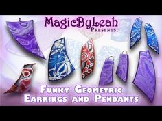 ▶ Funky Geometric Polymer Clay Jewelry Pendants and Earrings by Magic by Leah
