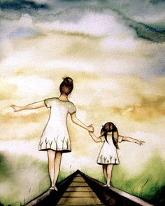 Mother and daughter our path art print gift by PrintIllustrations, $20.00
