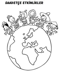 Earth Day Coloring Pages, Colouring Pages, Coloring Sheets, Coloring Books, Around The World Theme, World Crafts, Bible For Kids, Art Plastique, Kindergarten