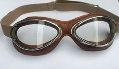 Aviator Retro Standard Mask Goggles - Brown Leather