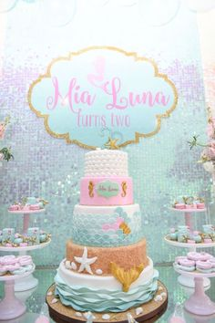 Cake from a Mermaid Oasis Themed Birthday Party via Kara's Party Ideas Mermaid Theme Birthday, Little Mermaid Birthday, Little Mermaid Parties, Birthday Cake Girls, 4th Birthday Parties, Birthday Party Decorations, Birthday Ideas, Birthday Cakes, Mermaid Cakes
