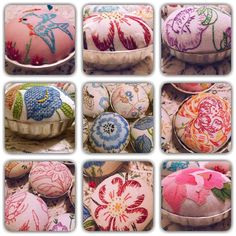 Isa Creative Musings: Repurposed Vintage Embroidered Linens into Pin Cushions in Vintage Molds