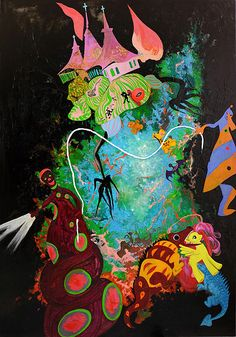 Anastasia Russa. Green universe. 200x140cm, canvas, oil, 2015.
