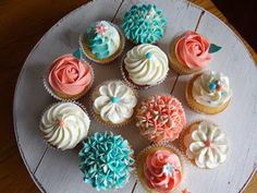coral and aqua cupcakes