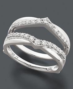Diamond Ring Guard 14k White Gold Wedding Engagement Band 1 4 Carat Jewelry Pinterest Weddings And