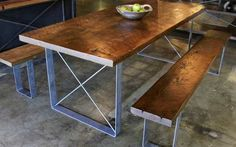 Croft House: Reclaimed wood comes from afar, but this furniture maker's story is local, local, local Reclaimed Wood Dining Table, Metal Dining Table, Dining Room Table, Kitchen Tables, Table Bases, Wood Tables, Salvaged Wood, Table Legs, Custom Furniture