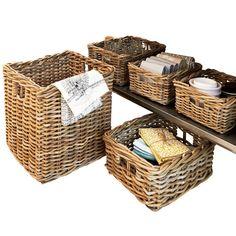 Chunky Rattan Square Basket - The Holding Company Kitchen Baskets, Bathroom Baskets, Basket Shelves, Storage Baskets, Square Baskets, Cane Handles, Rattan Basket, Holding Company, Fiber