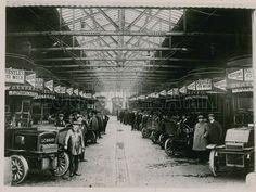Drivers pose beside their motor vehicle buses at Cricklewood Garage, London, 1900.