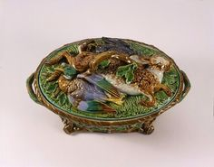 LavishShoestring.com | Tureen        Place of origin:        Stoke-on-Trent, England (made)      Date:        1866 (made)      Artist/Maker:        Minton & Co. (maker)      Materials and Techniques:        Majolica (glazed earthenware)