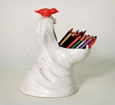 Porcelain Hippo Pencil Holder