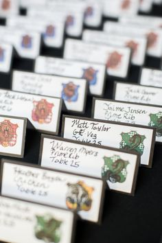 Harry Potter themed wedding (so well done!)  HogwartsHouseEscortCards