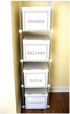 Easy way to get rid of clutter from the home. Throw things in the boxes you no longer need, and at the end of the month take them to their destinations. De-clutter. Un-clutter. Organize. Clean. Organizing. Organization. DIY. Boxes. Box. Shelf. Donate. Donating.