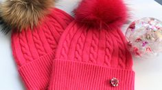 Beanie, Cashmere Wool Knit Blend Beanie Hat with Detachable Genuine Raccoon Fur Pom-Pom Rose Colored Beanie and Matching Fur Pom, NEW!