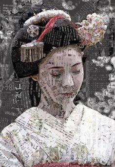 ideas house art collage for 2019 Art Du Collage, Collage Portrait, Mixed Media Collage, Mixed Media Canvas, Japan Design, Illustrations, Illustration Art, Art Visage, Kunst Online