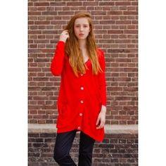 Boyfriend cardigan in bright red by L'Herbe Rouge Boyfriend Cardigan, New Woman, Bright, Coat, Red, Jackets, Shopping, Women, Fashion