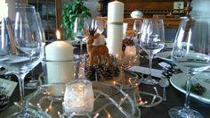 Deco table petit cerf bougies et photophores