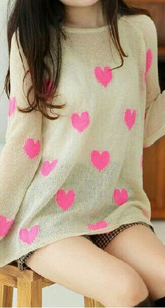 White Sweater With Pink Hearts ~ Asian Fashion ~ South Korean Fashion ~ Fashion In South Korea ~ Fashion In Asia