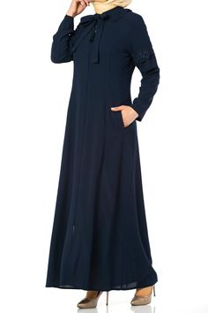 Butikzade - Handan Ferace DF-1161-02-Lacivert Cold Shoulder Dress, Dresses With Sleeves, Long Sleeve, Fashion, Moda, Gowns With Sleeves, Fashion Styles, Fasion