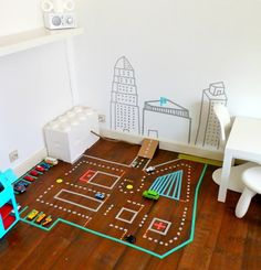 Washi tape toy car track