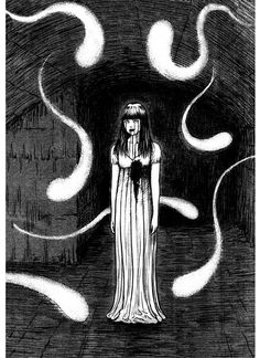 Junji Ito's Snow White Page 9 - Mangago Junji Ito, Japanese Horror, Japanese Art, Blood Anime, Ero Guro, Anime Monsters, Creepy Pictures, Creepy Art, Scary