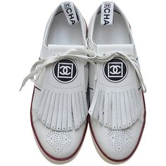 Chanel New White Golf Or Tennis Shoes New 39.5 ($985) ❤ liked on Polyvore featuring shoes, flats, accessories, flat pumps, fringe shoes, chanel flats, chanel and chanel shoes