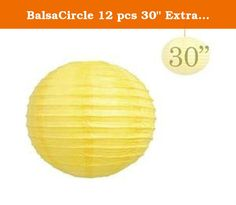 """BalsaCircle 12 pcs 30"""" Extra Large Paper LANTERNS Lamp Shades - Yellow. Decorate your special day with our Traditional Chinese Paper Lanterns! Great decoration for wedding, parties or home. Use as lamp shade, softens lighting to a soothing glow. Very easy to setup and they come with instructions. Available in a variety of colors and sizes. Additional Information: * Each order is for 12 Lanterns. * Diameter: 30"""" wide. * Material: Rice paper with wire framing. * Expander frame: it is an…"""