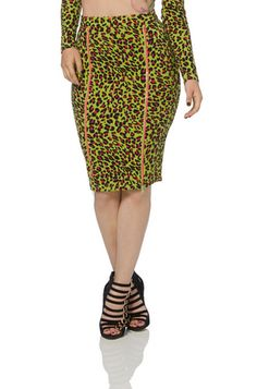 Neon Leopard Midi Skirt Price: £23.99  ----------------------------------- This bad ass skirt comes in our favourite vomit green hue. It is a fantastic figure-hugging eclectic piece with an exotic leopard print and two zips that fasten down the front. Bring the animal inside you to life!