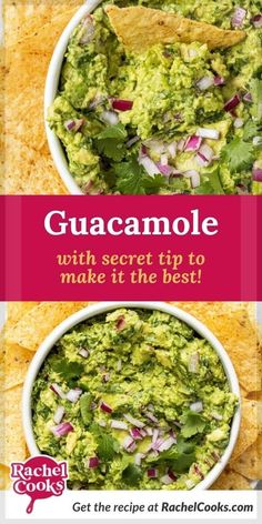 """Learn how to make guacamole. Homemade guacamole is easy and so fresh-tasting, and you can customize this recipe just how you like it best. Avocados are not only delicious, but they also have many health benefits, too. Avocados are a fruit, and provide lots of vitamins and minerals, along with heart-healthy fats. Did you know that some people call them """"alligator pears?"""" I'm sure you can guess why. This appetizer is perfect for parties, potlucks and picnics! A tasty, healthy snack option. How To Make Guacamole, Homemade Guacamole, Guacamole Recipe, Avocado Recipes, Healthy Snack Options, Healthy Snacks, Healthy Fats, Healthy Recipes, Best Chili Recipe"""