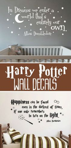 There Harry Potter wall decals are the best bedroom decor idea I've ever seen!! I love the Dumbledore quote above the crib in the nursery! So cute! I want these in my home! #harrypotter #hp #ad #hpquote #dumbledore