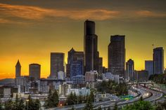 Seattle Washington Downtown Skyline at Sunset by David Gn on 500px
