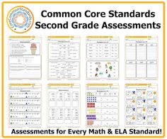 Second Grade Common Core Assessment Workbook Download with Common Core Math and English Assessments for teachers.