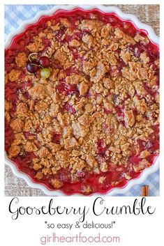 This easy gooseberry crumble is a little tart, flavourful and so delicious! Serve with your favourite ice cream or whipped cream for one yummy dessert! Easy Desserts, Delicious Desserts, Dessert Recipes, Thermomix Desserts, Yummy Food, Delicious Dishes, Sweet Desserts, Dessert Bars, Yummy Snacks