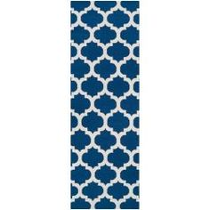 @Overstock - Hand-woven in wool, this rug features colors of mediterranean blue, winter white. Its unique design makes this rug perfect for your home.http://www.overstock.com/Home-Garden/Hand-woven-Blue-Foptop-Wool-Rug-26-x-8/6674588/product.html?CID=214117 $106.99