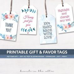 Editable Gift Tags Gift Tag Template Text Editable Polka Dots