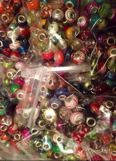 Lot 100x mixed european beads glass clay acrylic 925 on Etsy, $15.50
