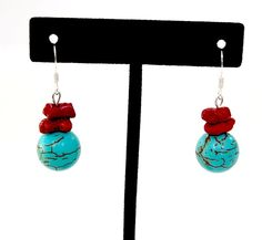 Gemstones Magnesite Turquoise Sea Coral Silver Plate Fengshui Chakra Gift #Handmade #DropDangle