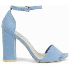 Nly Shoes Block Heel Sandal (£28) ❤ liked on Polyvore featuring shoes, sandals, heels, zapatos, blue, light blue, party shoes, womens-fashion, heeled sandals and open toe heel sandals