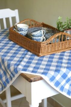 summertime cottage ~ a wicker basket filled with blue and white finds on top of a blue and white checked table covering White Cottage, Cozy Cottage, Cottage Style, Cottage Ideas, Cosy Living, Cottage Living, Country Blue, Country Decor, Country Charm