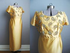 1960s Vintage Evening Gown Gold Satin Couture by SoubretteVintage, $218.00