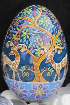 Turkey Egg Pysanka by Katrina Lazarev - such a lovely story.  Love the stylish deer!