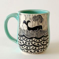 Home Remodel Outdoor Made by hand in California, these mugs can be special-ordered with the handle on the left. Hand-etched in a technique called sgraffito, this one features a happy whale on woodcut seas. Dishwasher and microwave safe. Sgraffito, Pottery Designs, Mug Designs, Pottery Mugs, Ceramic Pottery, Slab Pottery, Bordado Popular, Tassen Design, Whale Illustration