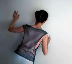 Gray Transparent okapi top by okapiknits on Etsy