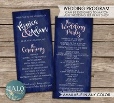 Slim Wedding Program by HALOdesignsSHOP on Etsy