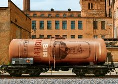 Rolling stock with illustrative detail and copper still print finish designed by…