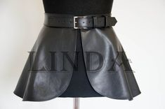 Skirt with belt at the waist with peplum for women genuine Leather Corset, Black Leather Belt, Leather Belts, Leather Skirts, Leather Leggings, Real Leather, Leather Jacket, Fashion Outfits, Womens Fashion
